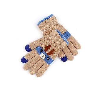 Cute Christmas Deer Cartoon Kids Gloves Winter Knit Wool Mittens Velvet Thick's