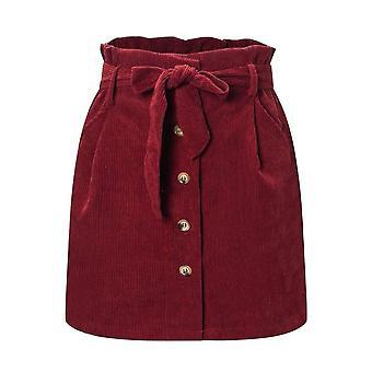 Φθινόπωρο Χειμώνας Γυναίκες's Λουλούδι Bud Φούστα Corduroy Υψηλή Μέση Στερεά Vintage Casual