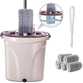 Mop and Buckets Sets with 5PCS Microfiber Pads Separate Dirty Water, Dry Flat Mops for Home Kitchen