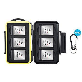 Caixa de cartão de memória JJC resistência à água carregando suporte de armazenamento 6 pcs caixa protetora de cartões xqd com carro