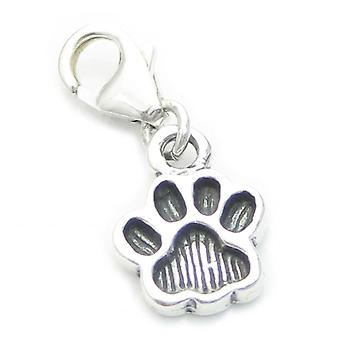 Pawprint On Clip Small Sterling Silver Charm .925 X 1 Paws Charms - 3540