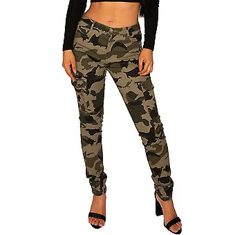 Low Rise Camouflage Cargo Trousers Slim Fit - Green