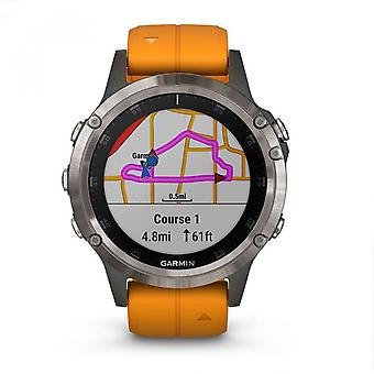 Garmin 010-01988-05 Fenix 5 Plus Smartwatch Sapphire, Titânio com Relógio de Banda de Silicone Laranja De Explosão Solar