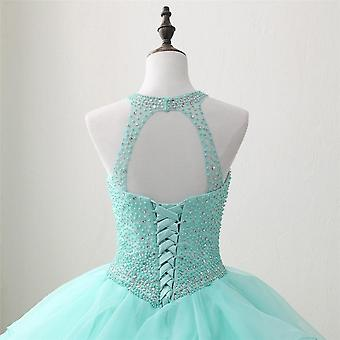 Neck Tulle Vestido Puffy Quinceanera Gowns
