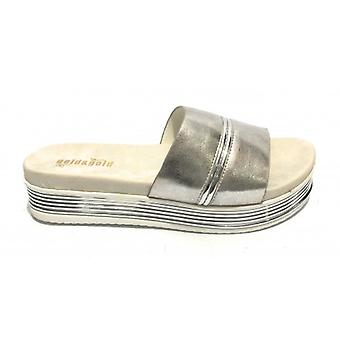 Ciabatta Platform Gold&gold Wedge Tc 45 In Ecopelle Silver Woman Ds19gg59