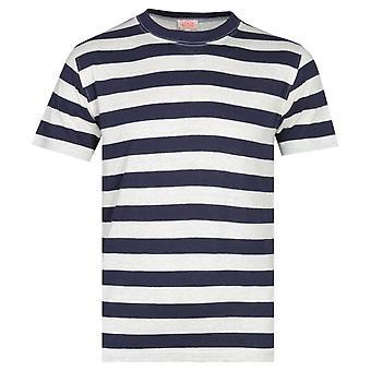 Armor Lux Navy Bold Stripe Linen T-Shirt