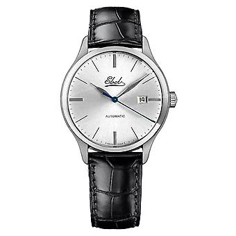 Ebel Classic 100 Silver Dial Black Leather Automatic Men's Watch 1216039