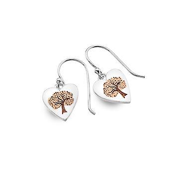 Sterling Silver Earrings - Origins Heart + Tree + Rose Gold Plated