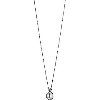 Adriana naszyjnik perłowy wisiorek słodkowodny cyrkonia kotwica łańcuch srebrny 50 cm S2