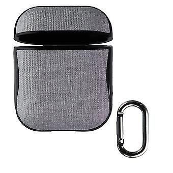 Key Hard Shell Case and Clip for Apple AirPods 1st and 2nd Gen - Gray/Black