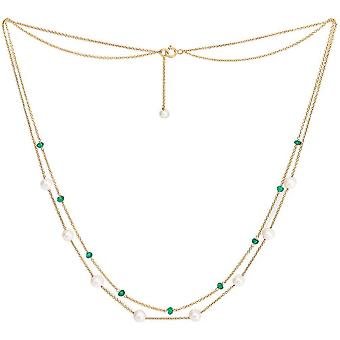 Pearls of the Orient Credo Emerald Fine Double Strand Necklace - Green/Gold