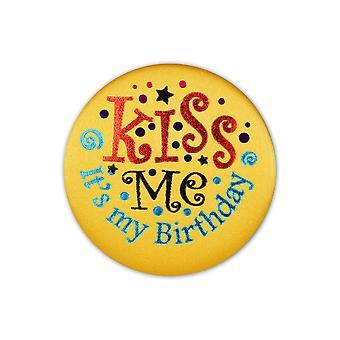 Kiss Me, It'S mein Geburtstag Satin Button (Packung mit 6)
