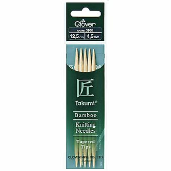 Clover Knitting Pins: Double-Ended: Set of Five: Takumi Bamboo: 12.5cm x 4.50mm