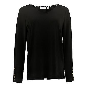 Susan Graver Women's Top Liquid Knit Black A372442