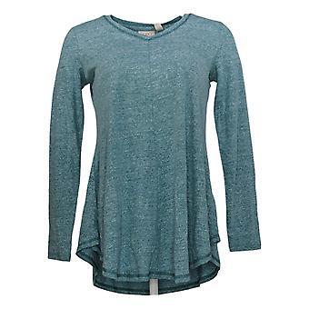 LOGO by Lori Goldstein Women's Top Long Sleeve Jersey Swing Green A310992