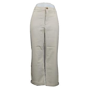 LOGO by Lori Goldstein Women's Plus Pants Stretch Twill Plaid Beige A351559