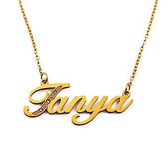Kigu Tanya, halsband med personligt namn, med zirkoner, guldpläterade