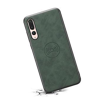 حقيبة جلدية مع فتحة بطاقة المحفظة لسامسونج Note9 الرجعية الخضراء