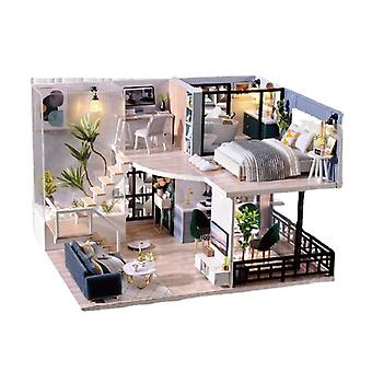 Diydollhouse miniature with furniture, model attic gift toys