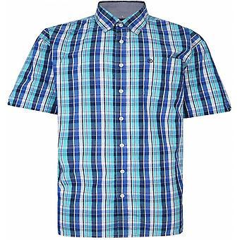 ESPIONAGE Espionage Mens Big Size Casual Button Down Cotton Big Check Short Sleeve Shirt