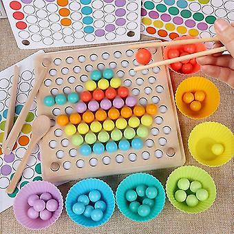 Holzperlen Spiel Montessori pädagogische früh lernen Kinder Clip Ball Puzzle Vorschule Kleinkind