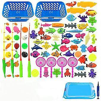 Children Boy Girl Fishing Toy Set Suit Magnetic Play Water Baby Toys Fish Square Hot Gift For