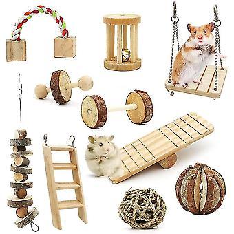 Hamster Kauwen Speelgoed 10 Pack, Hamster Oefening Roller Tanden Zorg Kies Speelgoed