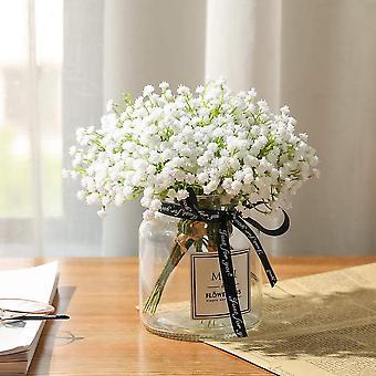 Respiro artificiale Fiori falsi Bouquet Gypsophila Bulk Fiore in bianco per matrimonio corona da sposa decorazione giardino 8 pezzi