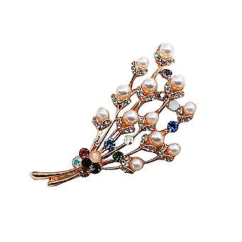 Corsage Colorful Floral Branch Ladies Brooch Crystal Pearl Brooch Pin
