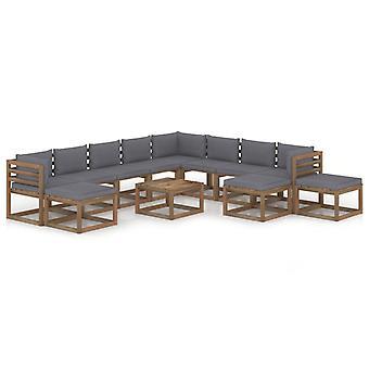 vidaXL 12 pcs. Garden lounge set with cushion anthracite