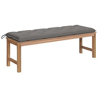 vidaXL garden bench with grey pad 150 cm solid wood teak