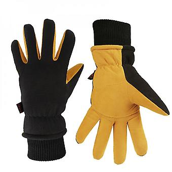 Winter Gloves Deerskin Suede Leather Palm With Big Patch - Water-resistant Windproof Insulated Work Glove For Driving Cycling Hiking Snow Skiing - The