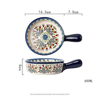 Retro Binaural Soup Bowl Household Pizza Ceramic Oven Microwave Bake Pan Nordic Tableware(blue)