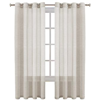 Linen sheer curtains window treatment eyelet top panels 2 pieces, natural