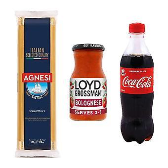 Seven Trees Farm Kit met 3 producten | 1 x Coca Cola, 1 x Bolognese Sauce Jar, 1 x Italiaanse Spaghetti, Geniet van een portie heerlijke pasta en koel af met een cola!