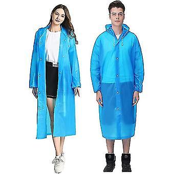 Manteaux de pluie Eva portables Poncho de pluie réutilisables avec capuchon et manchettes élastiques (BLEU)