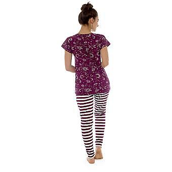 Tom Franks Naisten Tähtikatsoja Painettu Combed Jersey Pyjamas - Burgundy - 8-10