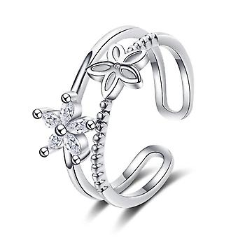 2PCS Copper Women's Fashion Jewelry Simple Hollow Flower Open Size Adjustable Ring