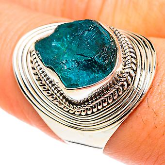 Rough Apatite Ring Size 8.5 (925 Sterling Silver)  - Handmade Boho Vintage Jewelry RING77248