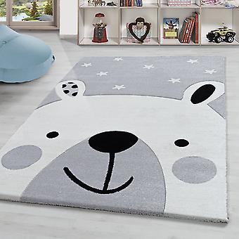 Kindertapijt beer motief kinderkamer tapijt hoge kwaliteit zachte korte stapel grijs wit