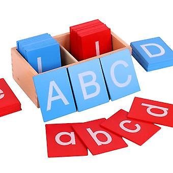 Wooden Sandpaper Alphabets Card Letter Capital Alphabet Lowercase For Children|