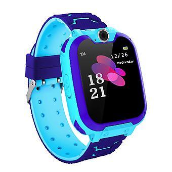 Se telefon til børn Ring touch screen kamera spil musik spille smart ure (blå)