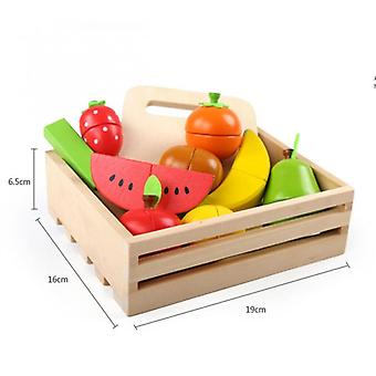 Simulation Kitchen Pretend Toy Wooden Classic Game Montessori Educational Toy For Children Kids Gift Cutting Fruit Vegetable Set
