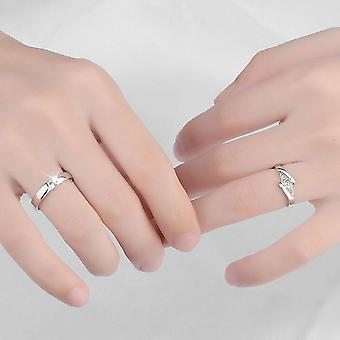 Zircon Couple Rings 1 Pair Wedding Promise Rings 30% Sterling Silver Jewelry
