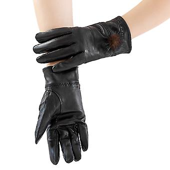 Mimigo Black Genuine Sheepskin Leather Gloves For Women, Winter Warm Cashmere Lined Driving Motorcycle Gloves With Real Mink Pompom