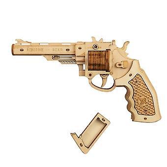 Pistool bouwstenen diy revolver, verspreiden met rubber band kogel houten populaire speelgoed cadeau voor kinderen volwassen