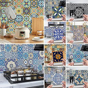 24pcs Modern 3d Floral Mosaic Tile Stickers Self Adhesive Home Wall Decor Decals