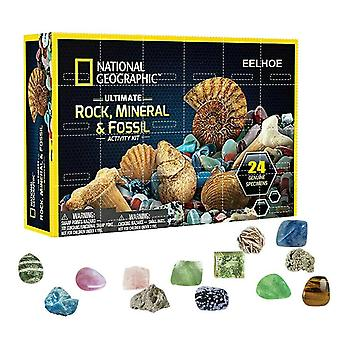מינרל מאובן אבן ערכת חג המולד הרפתקאות תיבת לוח שנה חינוך מוקדם חג המולד מתנה