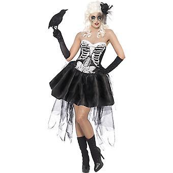 Skelet Lady kostuum met jurk en macht trein dames