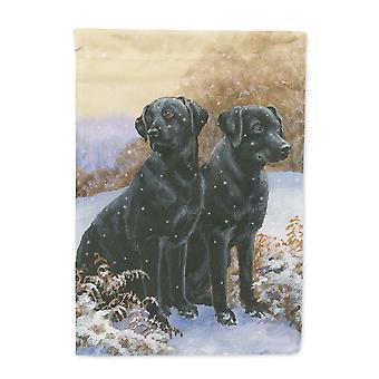 Carolines Treasures  BDBA450AGF Black Labradors Snowy Day Flag Garden Size